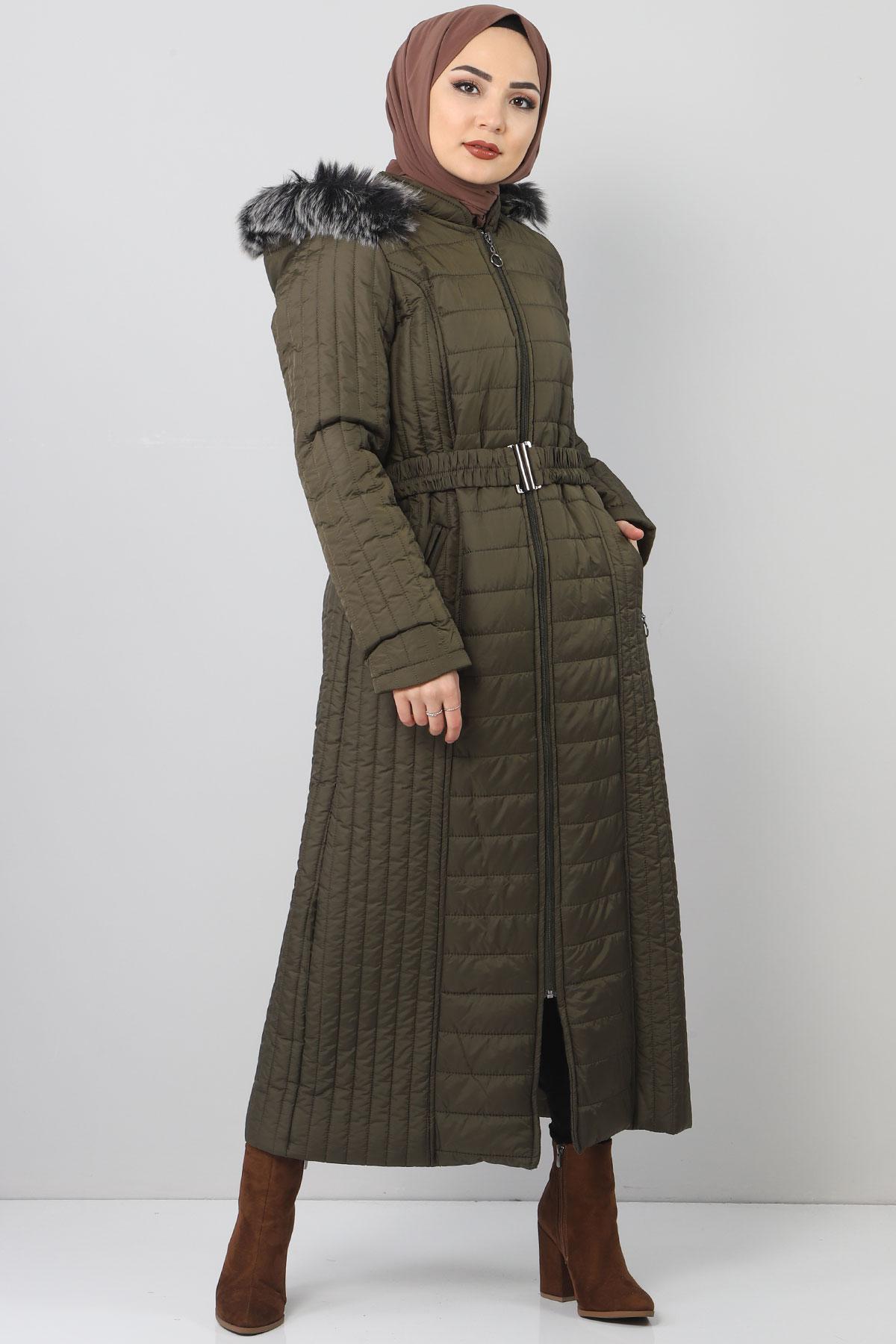 معطف طويل مبطن TSD0887 خاكي