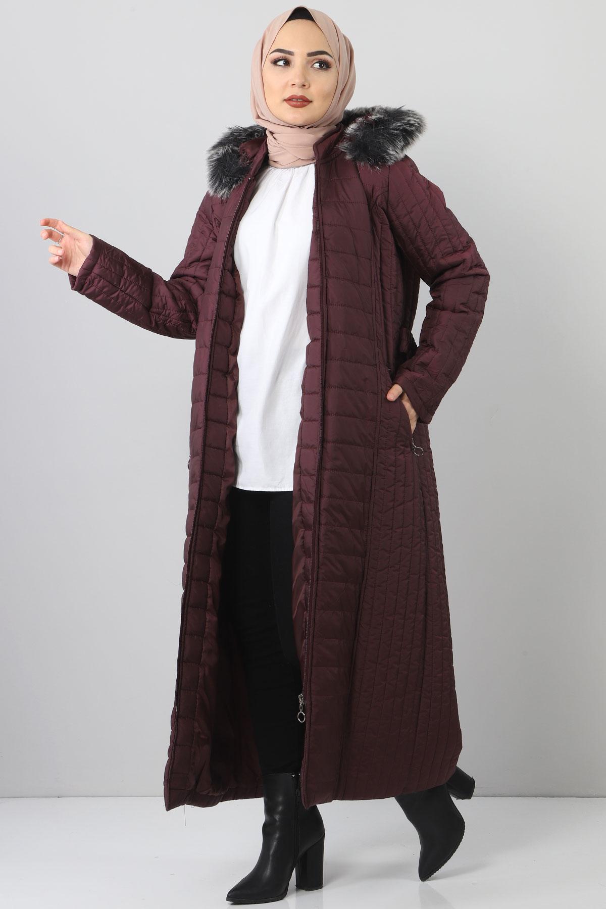 معطف طويل مبطن TSD0887 بنفسجي