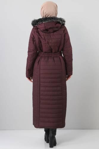 معطف طويل مبطن TSD0887 بنفسجي - Thumbnail