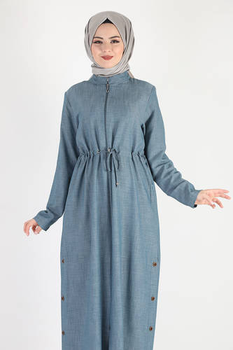 Tesettür Dünyası - معطف كبير الحجم برباط على الخصر TSD0890 أزرق فاتح (1)
