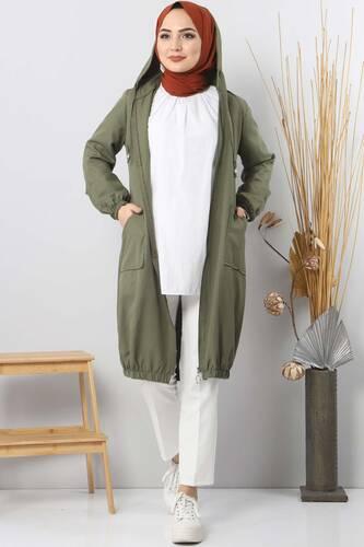 تنورة حجاب مطاطية TSD1097 خاكي - Thumbnail