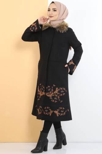 Tesettür Dünyası - معطف مطرز TSD1270لون أسود