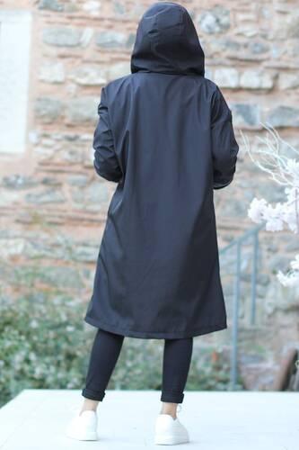 معطف فرو جيب الكنغر TSD1415 أسود - Thumbnail