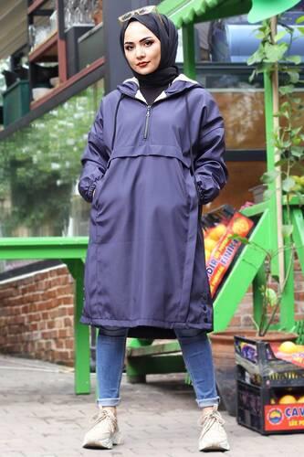 معطف فروي بجيب الكنغر TSD1415 أزرق كحلي - Thumbnail