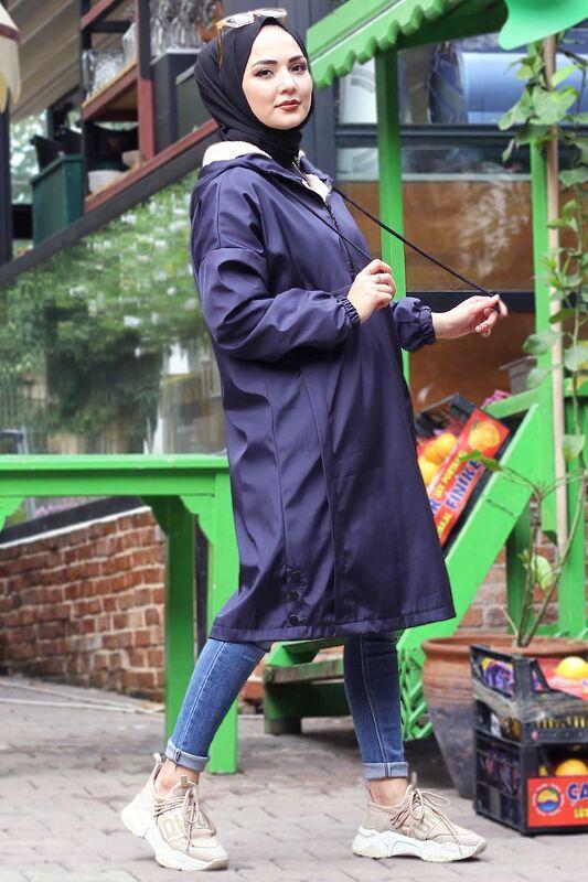 معطف فروي بجيب الكنغر TSD1415 أزرق كحلي