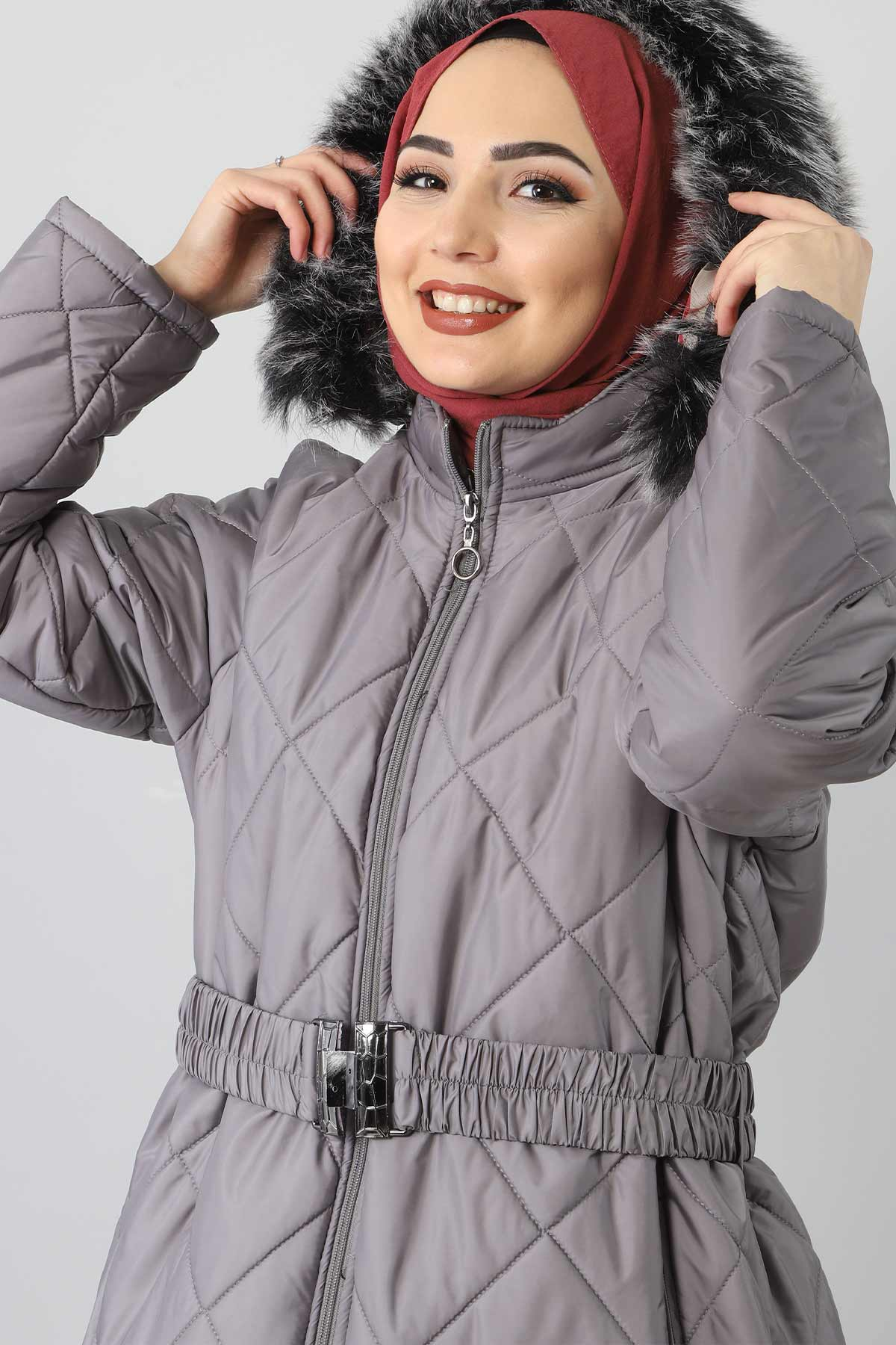 معطف مبطن من الفرو مقاس كبير TSD1485 رمادي