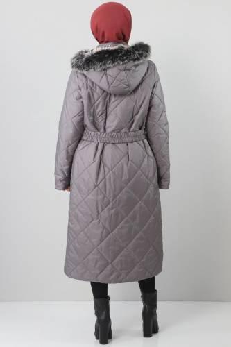 معطف مبطن من الفرو مقاس كبير TSD1485 رمادي - Thumbnail