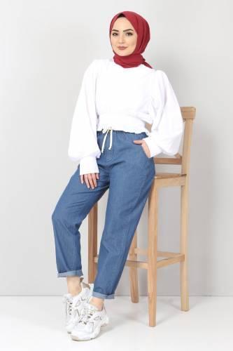 بنطلون جينز بخصر مطاطي TSD1620 أزرق غامق - Thumbnail