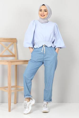 بنطلون جينز بخصر مطاطي TSD1620 أزرق فاتح - Thumbnail