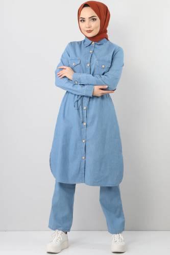 بدلة جينز مزدوجة برباط الخصر TSD1625 أزرق فاتح - Thumbnail