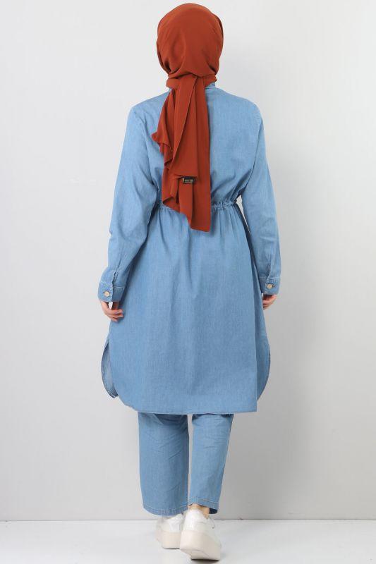 بدلة جينز مزدوجة برباط الخصر TSD1625 أزرق فاتح