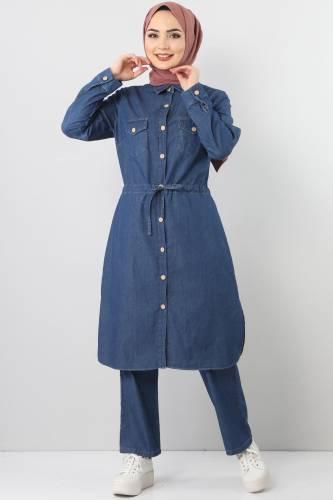 بدلة جينز مزدوجة برباط الخصر TSD1625 أزرق داكن - Thumbnail
