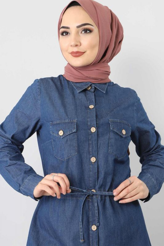 بدلة جينز مزدوجة برباط الخصر TSD1625 أزرق داكن
