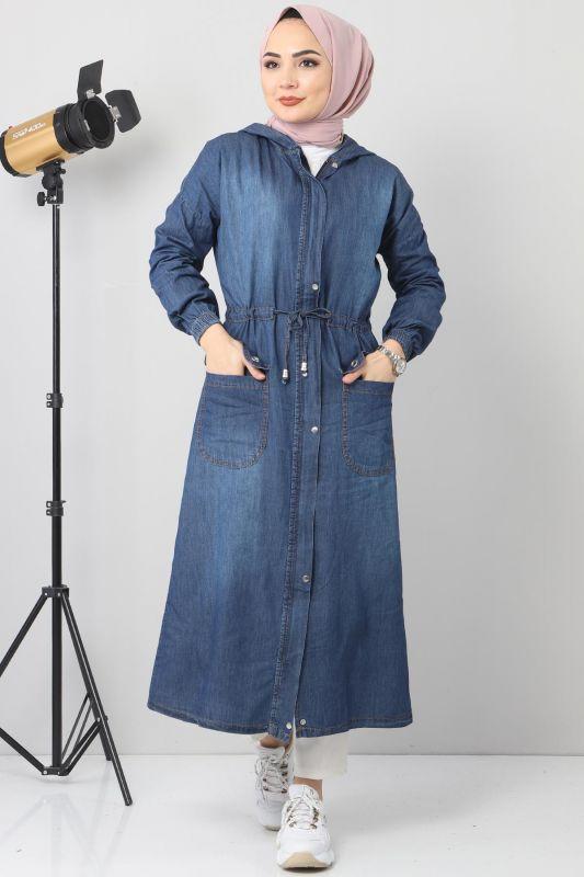 كاب جينز بتفاصيل جيب TSD1634 أزرق غامق