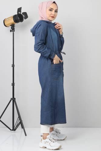 كاب جينز بتفاصيل جيب TSD1634 أزرق غامق - Thumbnail