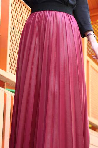 تنورة جلدية بطيات TSD1741 أحمر كلاريت - Thumbnail