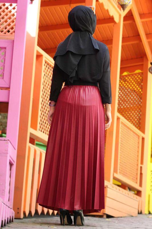 تنورة جلدية بطيات TSD1741 أحمر كلاريت