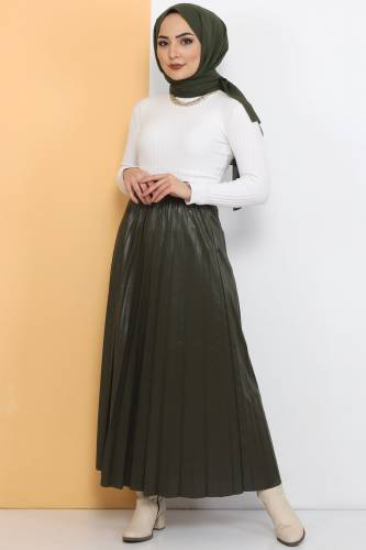 Tesettür Dünyası - TSD1741 Khaki Leather Pleated Skirt