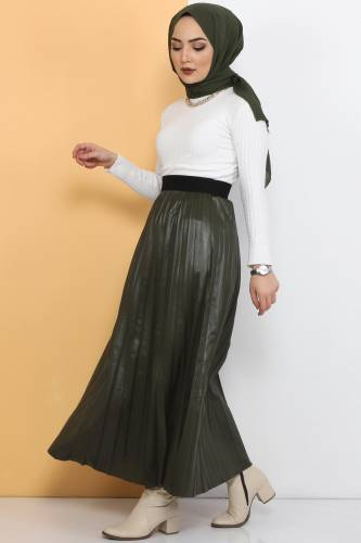 Tesettür Dünyası - TSD1741 Khaki Leather Pleated Skirt (1)