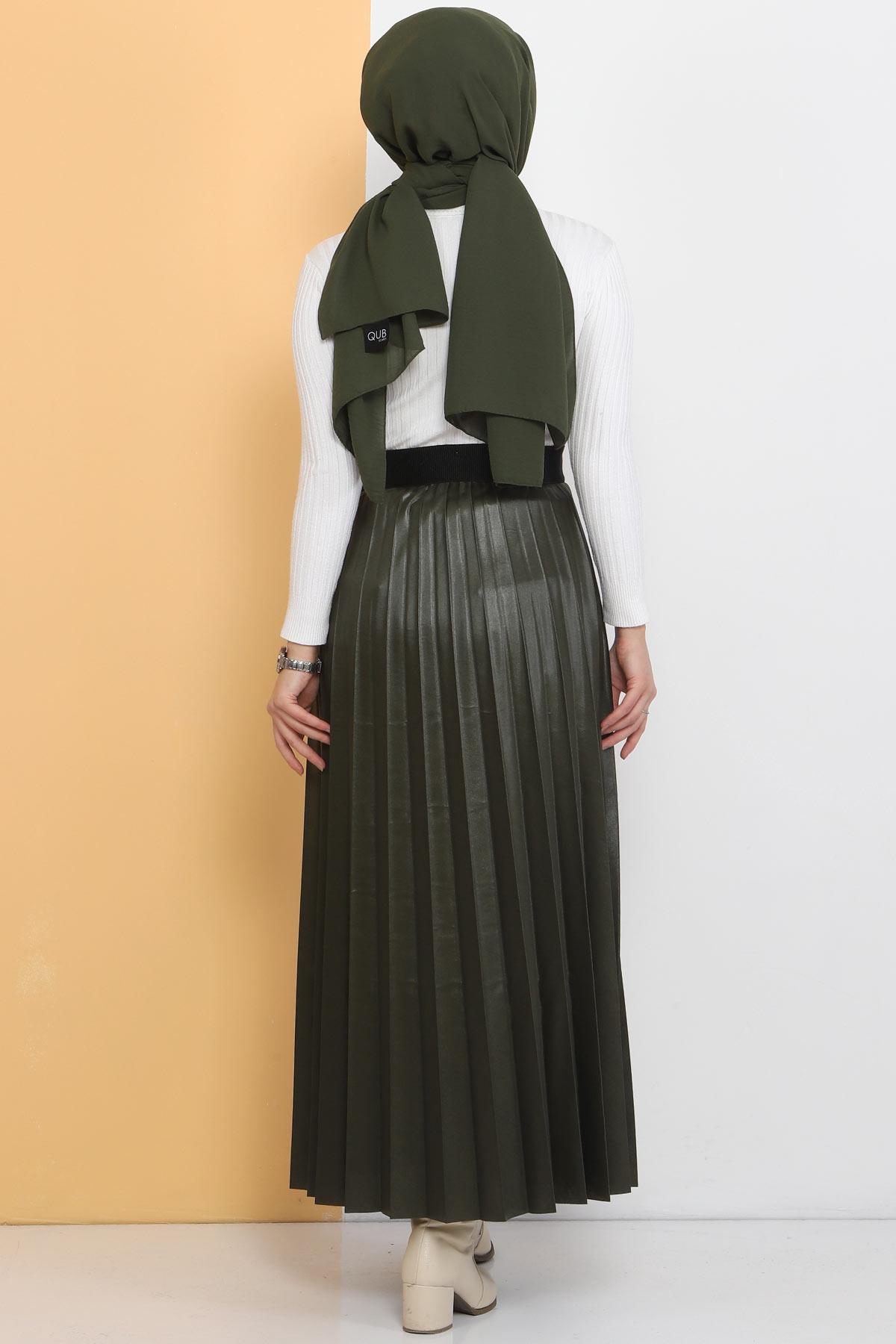 TSD1741 Khaki Leather Pleated Skirt