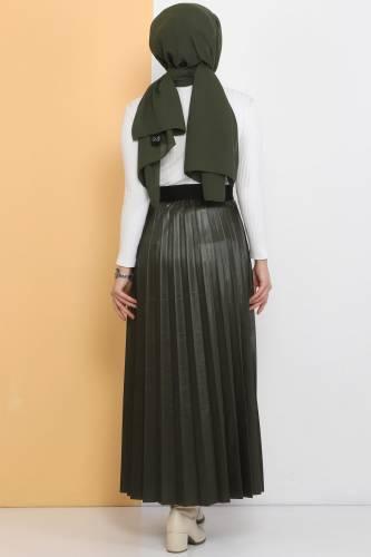 TSD1741 Khaki Leather Pleated Skirt - Thumbnail