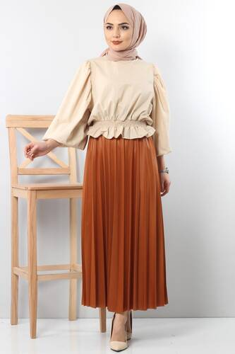 Tesettür Dünyası - TSD1741 Pleated Leather Skirt Brown to Orange.