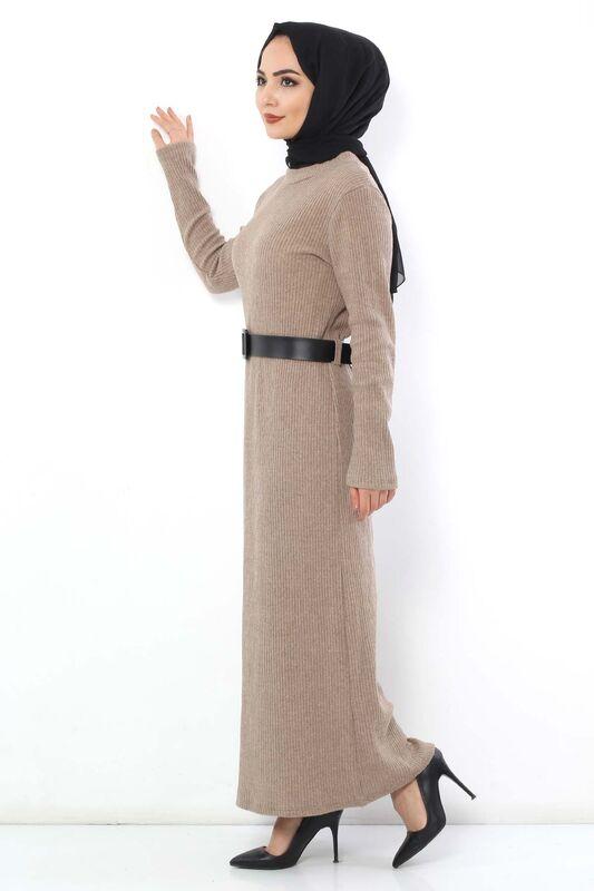 فستان تريكو بحزام TSD1742 بيج