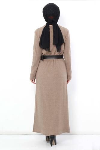 فستان تريكو بحزام TSD1742 بيج - Thumbnail