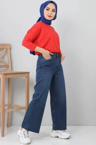 بنطال جينز واسع TSD22006 أزرق غامق - Thumbnail