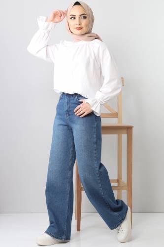 Tesettür Dünyası - بنطلون جينز واسع الساق TSD22007 ازرق فاتح