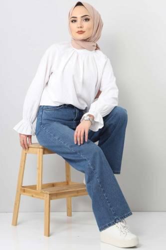 Tesettür Dünyası - بنطلون جينز واسع الساق TSD22007 ازرق فاتح (1)