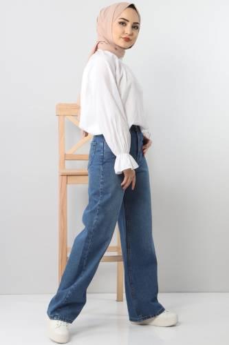 بنطلون جينز واسع الساق TSD22007 ازرق فاتح - Thumbnail