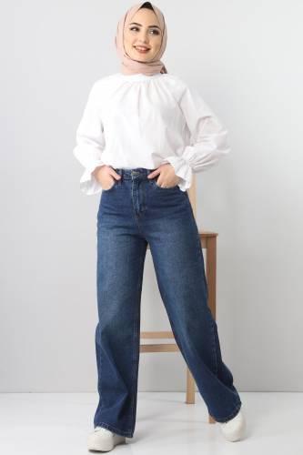 Tesettür Dünyası - بنطلون جينز واسع الساق TSD22007 ازرق غامق