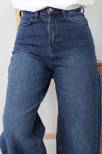 Tesettür Dünyası - بنطلون جينز واسع الساق TSD22007 ازرق غامق (1)