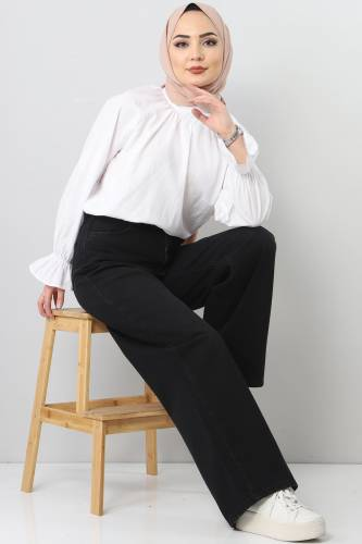 بنطلون جينز واسع الساق TSD22007 أسود - Thumbnail