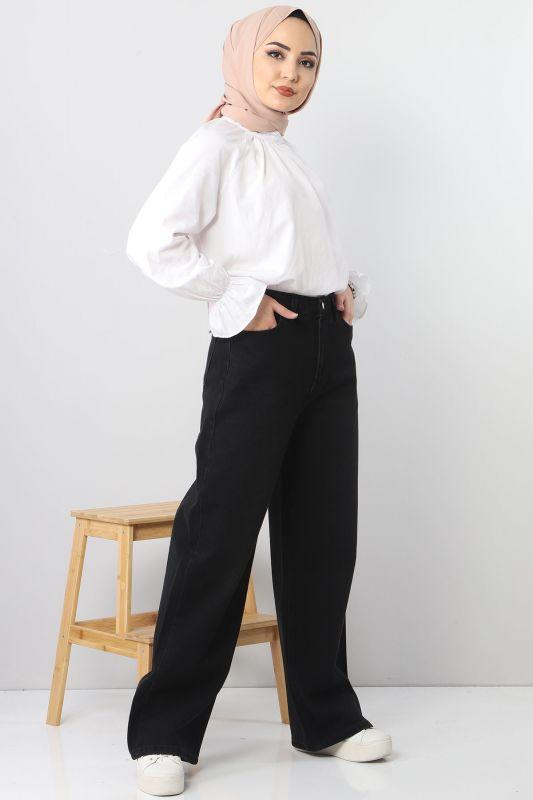 بنطلون جينز واسع الساق TSD22007 أسود