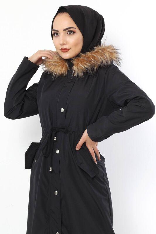 معطف فروي TSD2389 أسود