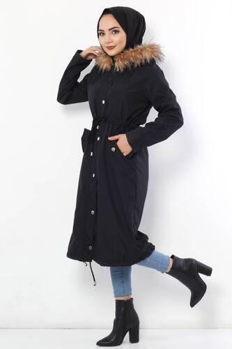 معطف فروي TSD2389 أسود - Thumbnail