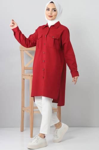 تونيك فضفاض بجيوب TSD2412 احمر داكن - Thumbnail