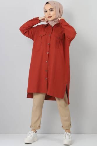 TSD2412 Pocket Loose Tunic Dark Orange - Thumbnail