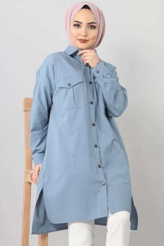 TSD2412 Pockets Loose Tunic Blue - Thumbnail