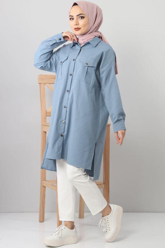 TSD2412 Pockets Loose Tunic Blue