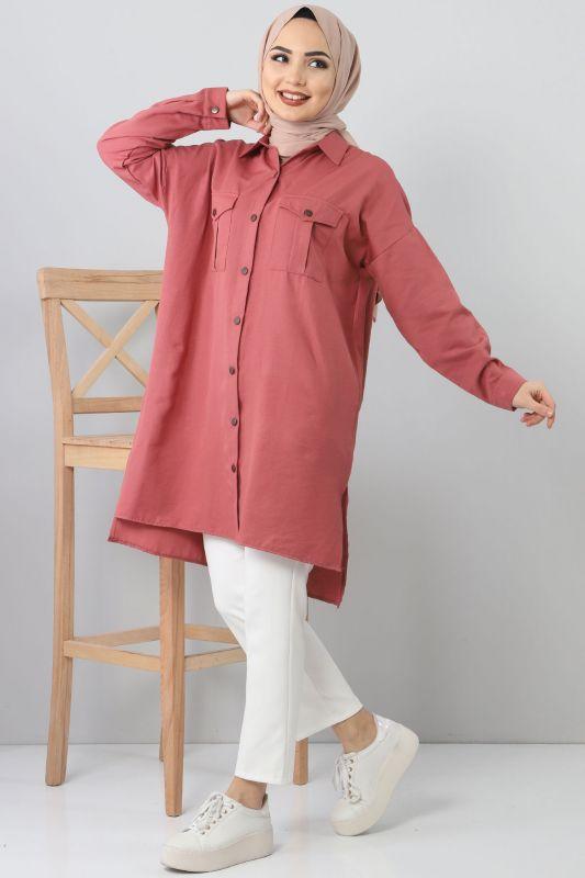TSD2412 Pockets Loose Tunic Dark Pink