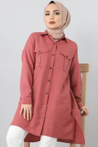 TSD2412 Pockets Loose Tunic Dark Pink - Thumbnail