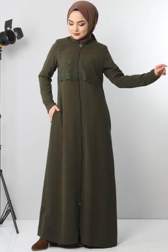عباية مطرزة TSD2510 خاكي - Thumbnail