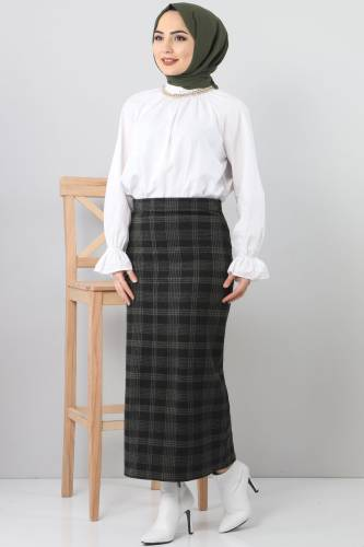 Tesettür Dünyası - TSD3249 Khaki Plaid Winter Slim Skirt