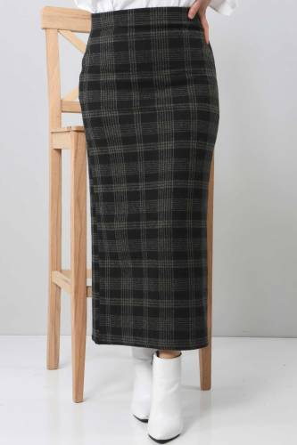 Tesettür Dünyası - TSD3249 Khaki Plaid Winter Slim Skirt (1)