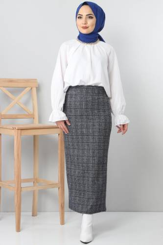 Tesettür Dünyası - TSD3249 Plaid Winter Slim Skirt Navy Blue