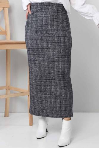 Tesettür Dünyası - TSD3249 Plaid Winter Slim Skirt Navy Blue (1)