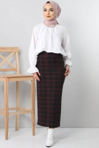 Tesettür Dünyası - TSD3249 Red Patterned Winter Slim Skirt